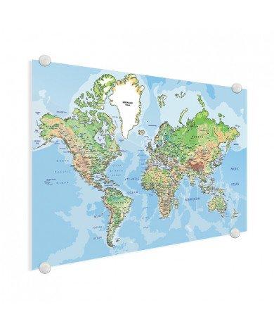 Weltkarte Geografisch Acrylglas