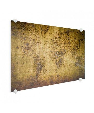 Weltkarte Kompass Acrylglas