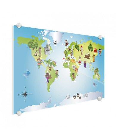 Weltkarte Kleine Freunde Acrylglas