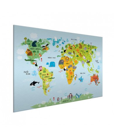 Weltkarte Lustige Tiere Aluminium