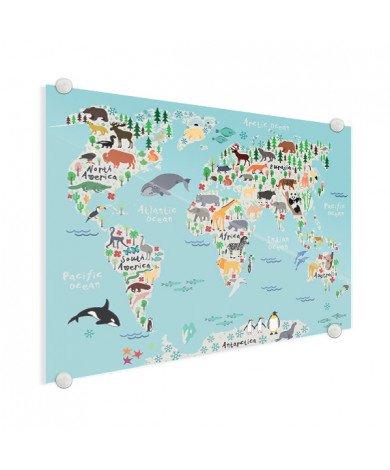 Weltkarte unser Tierreich Acrylglas