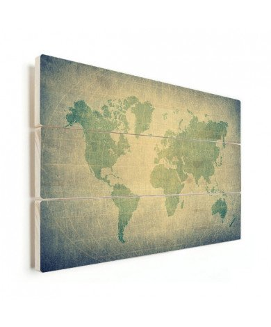 Weltkarte Pergament Grün Blass Holz