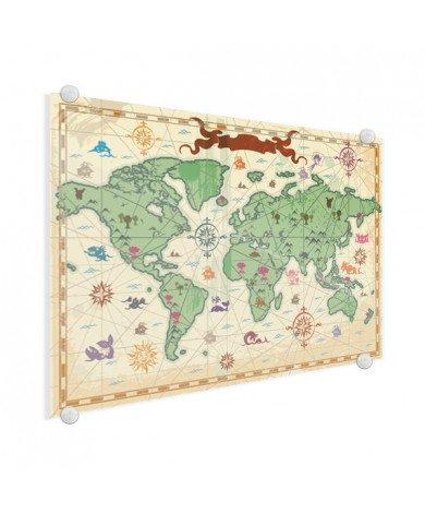 Weltkarte Schatzkarte Acrylglas