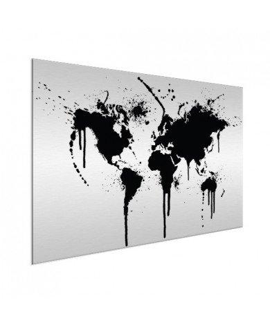 Weltkarte schwarze Tinte Aluminium