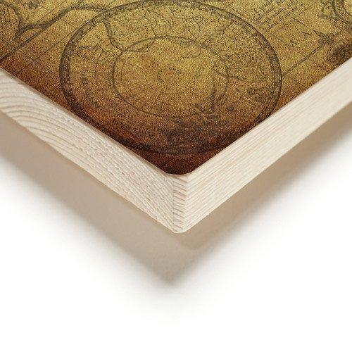Weltkarte auf Holzplanken Detail