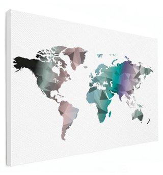 Weltkarte Auf Leinwand Bunt