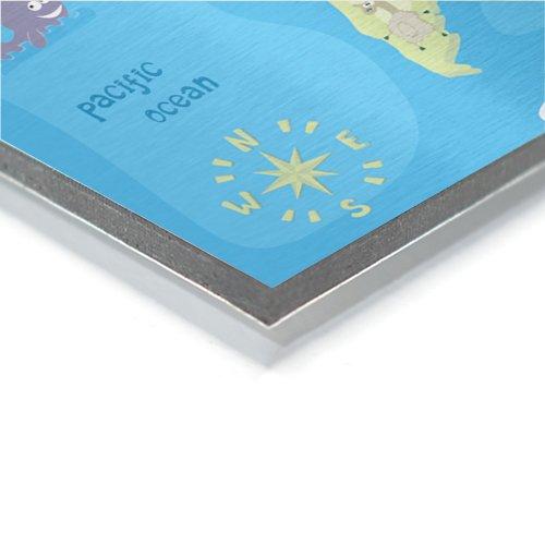Weltkarte auf Aluminium Detail