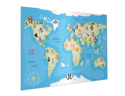 Weltkarte auf Aluminium
