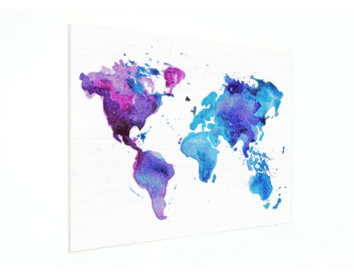 Weltkarte auf Holzplatte