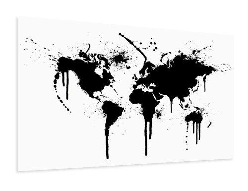 Weltkarte Poster schwarz weiss